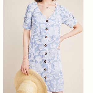 Anthropologie Embroidered Button Front Dress Blue